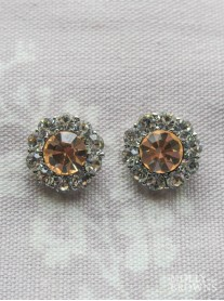 Large Daisy Light Gold Crystal Stud Earrings