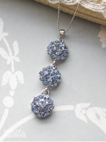 Large Daisy Light Sapphire Crystal 3 Drop Necklace