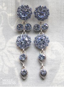 Large Daisy Light Sapphire Crystal Large Drop Earrings