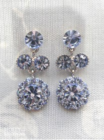 Large Daisy Light Sapphire Crystal Medium Drop Earrings