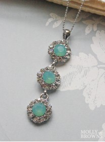 Large Daisy Mint Opal Crystal 3 Drop Necklace