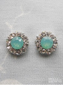 Large Daisy Mint Opal Crystal Stud Earrings