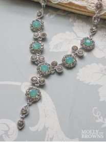 Large Daisy Mint Opal Crystal Y Drop Necklace