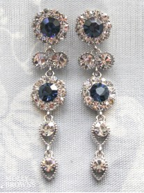 Large Daisy Navy Crystal Large Drop Earrings
