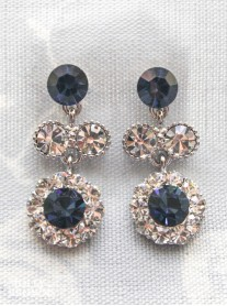 Large Daisy Navy Crystal Medium Drop Earrings