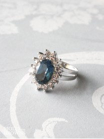 Large Daisy Navy Crystal Ring
