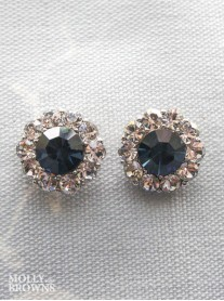 Large Daisy Navy Crystal Stud Earrings