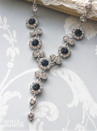 Large Daisy Navy Crystal Y Drop Necklace