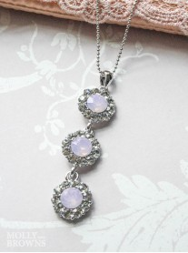 Large Daisy Pink Opal Crystal 3 Drop Necklace
