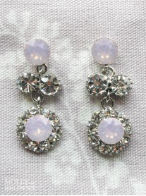 Large Daisy Pink Opal Crystal Medium Drop Earrings