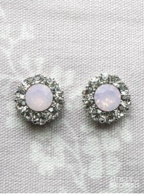 Large Daisy Pink Opal Crystal Stud Earrings