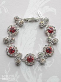 Large Daisy Red Crystal Bracelet
