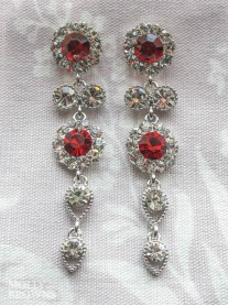 Large Daisy Red Crystal Large Drop Earrings