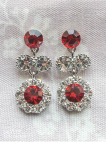 Large Daisy Red Crystal Medium Drop Earrings