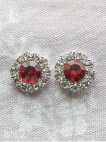 Large Daisy Red Crystal Stud Earrings