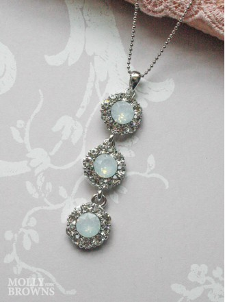 Large Daisy White Opal Crystal 3 Drop Necklace