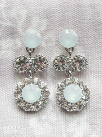 Large Daisy White Opal Crystal Medium Drop Earrings