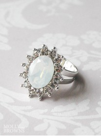 Large Daisy White Opal Crystal Ring