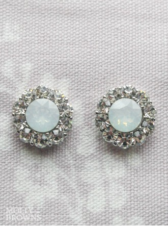 Large Daisy White Opal Crystal Stud Earrings