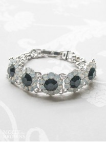 Large Daisy White Opal & Black Crystal Bracelet