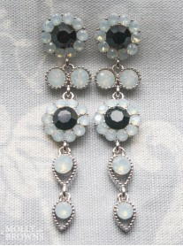 Large Daisy White Opal & Black Crystal Large Drop Earrings