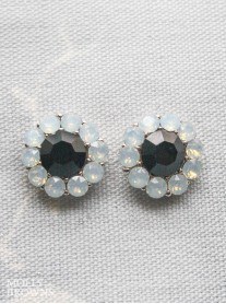 Large Daisy White Opal Jet Crystal Stud Earrings