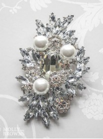 Large Pearl & Diamante Brooch