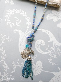 Long Blue & Turquoise Beaded Gold Necklace