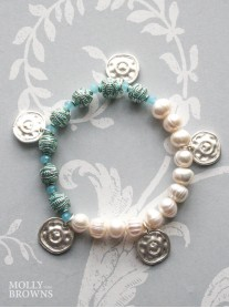 Pearl & Blue Beaded Bracelet