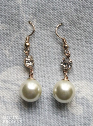 Pearl & Diamante Drop Earrings -  Gold/Ivory
