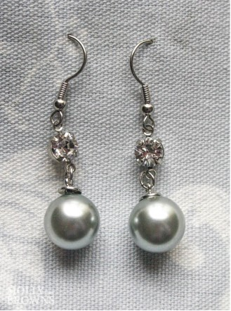 Pearl & Diamante Drop Earrings -  Silver