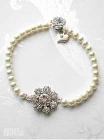 Pearl Diamante Flower Bracelet