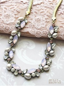 Pearl Diamante & Pink Crystal Necklace