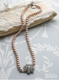 Pearl & Diamante Necklace - Latte