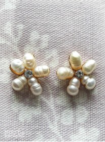 Pearl Beaded Diamante Flower Stud Earrings