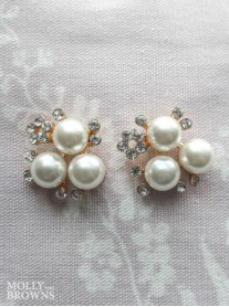 Pearl & Diamante Cluster Earring - Gold