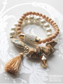 Pearl & Gold Pebble Tassled Bracelet Pair