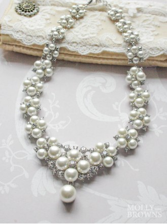 Pearl & Silver Crystal Necklace