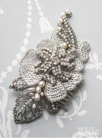 Petal Silver & Diamante Hair Clip