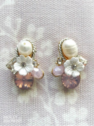 Pink Crystal & Diamante Flower Earrings