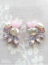 Pink Crystal & Diamante Petal Earrings