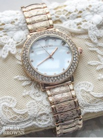 Rose Gold Diamante Round Face Watch