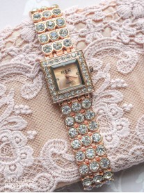 Rose Gold Diamante Square Face Watch