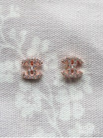 Diamante Stud Earrings - Rose Gold