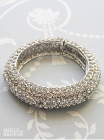 Silver Crystal Bangle Bracelet