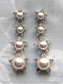 Silver Diamante & Pearl 4-Drop Earrings
