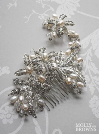 Silver Beaded Flower Hair Clip