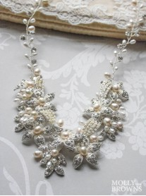Silver Flower Ivory Pearl Statement Necklace