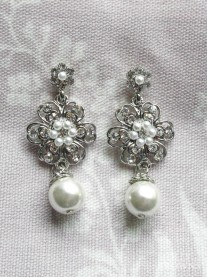 Silver Flower Pearl Drop Earrings