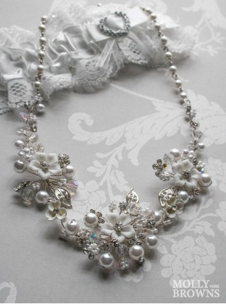 Silver Pearl Diamante Flower Statement Necklace